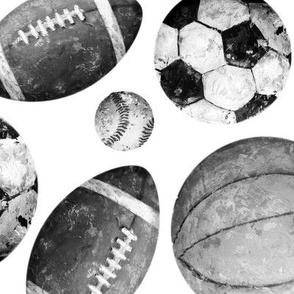 Allstar Sports Balls Black and White on White - Baseball, Football, Basketball, Soccer