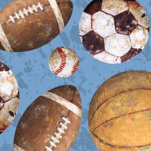 Allstar Sports Balls Large on Blue - Baseball, Football, Soccer, Basketball