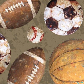 Allstar Sports Balls on Brown - Baseball, Football, Basketball, Soccer