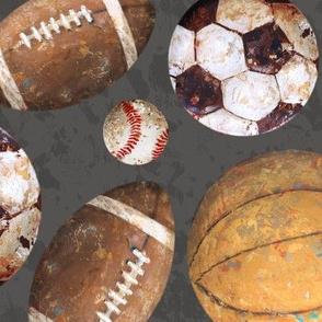 Allstar Sports Balls Large on Deep Brown - Baseball, Soccer, Basketball, Football