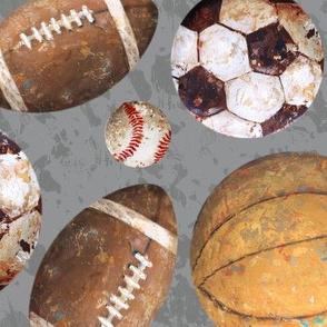Allstar Sports Balls on Gray - Baseball, Football, Basketball, Soccer