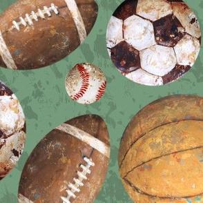 Allstar Sports Balls on Green - Baseball, Football, Soccer, Basketball