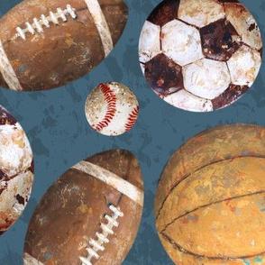 Allstar Sports Balls on Navy - Baseball, Football, Soccer, Basketball