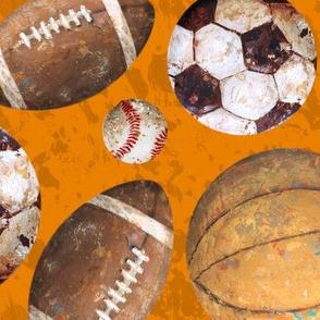 Allstar Sports Balls on Orange - Baseball, Football, Soccer, Basketball