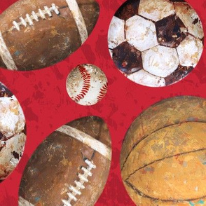 Allstar Sports Balls on Red - Baseball, Football, Soccer, Basketball