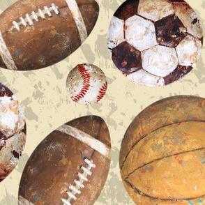 Allstar Sports Balls on Cream - Baseball, Football, Soccer, Basketball