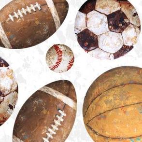 Allstar Sports Balls on White - Baseball, Football, Soccer, Basketball