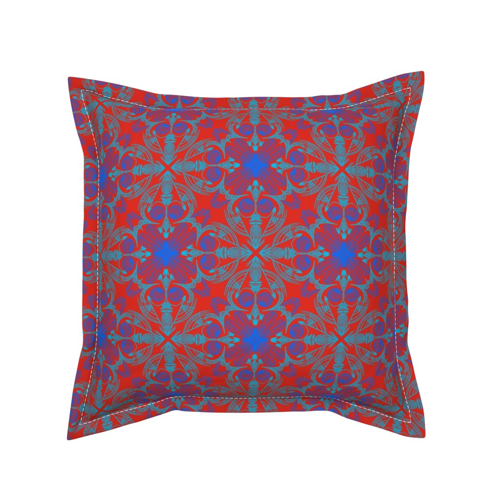 Serama Throw Pillow featuring Doodle symmetrical line art on red by dorademe