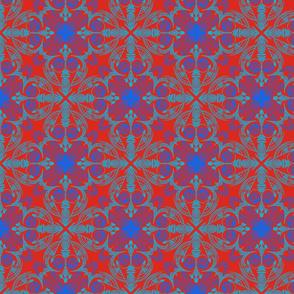 Doodle symmetrical line art on red