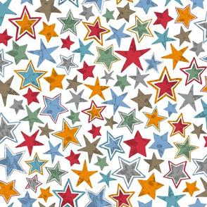 Allstars Stars Multi Colored on White