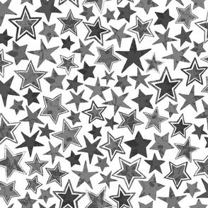 Allstars Stars Black and Grayscale on White