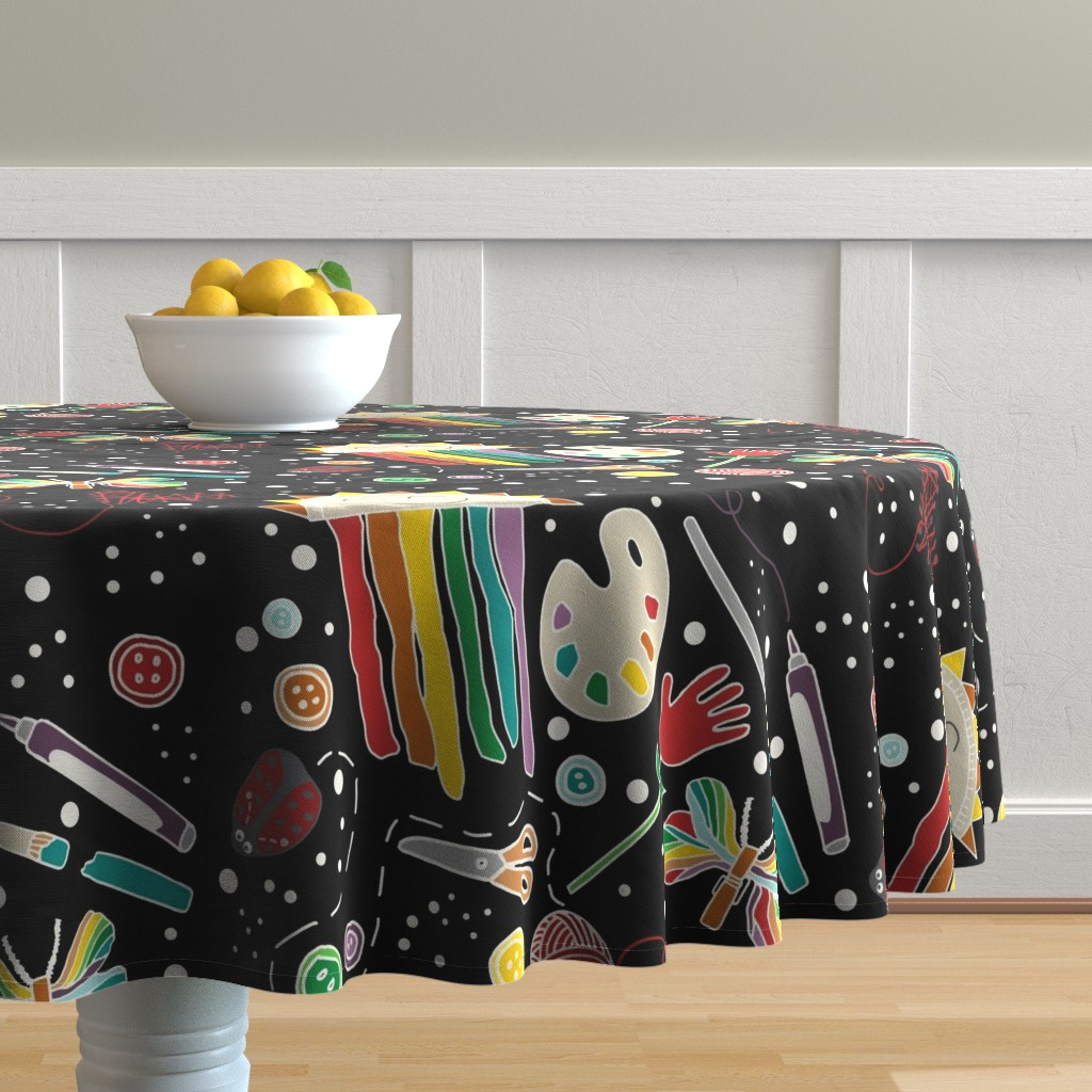 Malay Round Tablecloth featuring Arts & Crafts Are for Everyone by kelly_korver