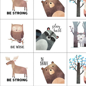 """Custom 6"""" animal blocks with 1/2"""" white border around all four sides (totals 7"""" squares) with dotted cutting lines"""