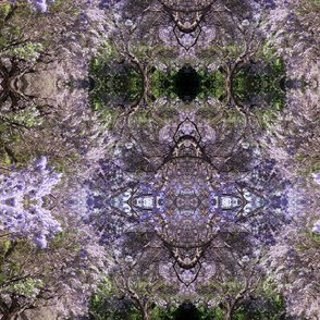Purple Garland   - Modern abstract print in purple, black and green