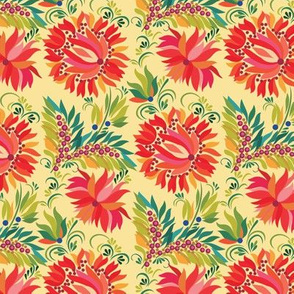 Retro Red Floral Harvest Gold Pattern
