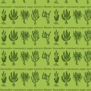 Evergreen Herbs - lavender, rosemary, sage, savory, thyme