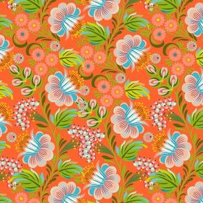 Vintage Hohloma Floral on Orange