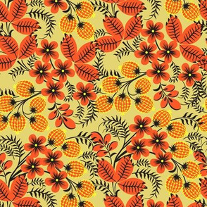 Autumn Blossoms and Berries Pattern SEAMLESS