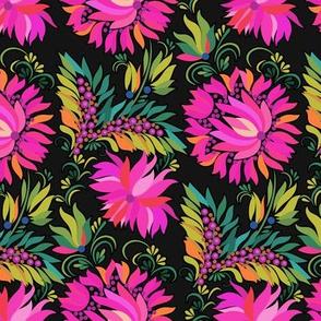 Vintage Pink Dahlia on Black Floral
