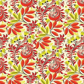 Vintage Flourish Floral in Lime and Orange