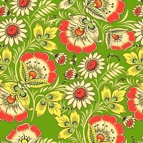 Vintage Green Scarf Print Floral