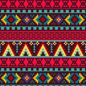 Autumn Jewel Tones Pixel Tribal Pattern