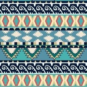 Blue Waves Earth Tones Tribal Pattern Seamless