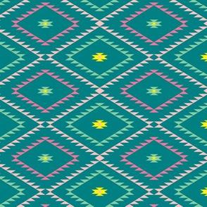 Navajo Pattern - Teal / Green / Pink - Small