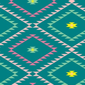 Southwestern Geometric - Teal / Green / Pink - Medium