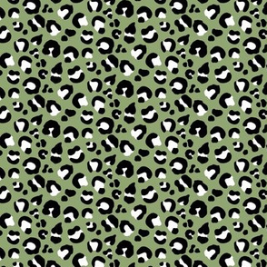 Leopard Spots - Olive / Black / White - Small