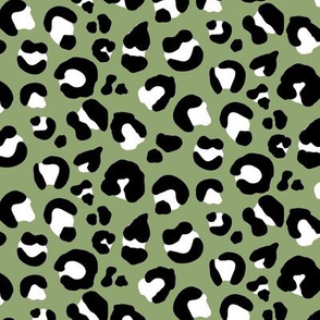 Leopard Spots - Olive / Black / White - Medium