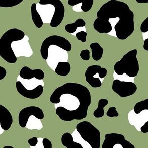 Leopard Spots - Olive / Black / White - Large