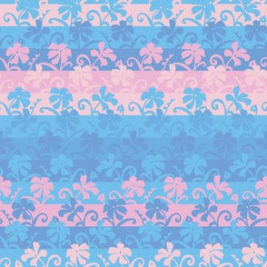pink and blue floral stripes by rysunki_malunki