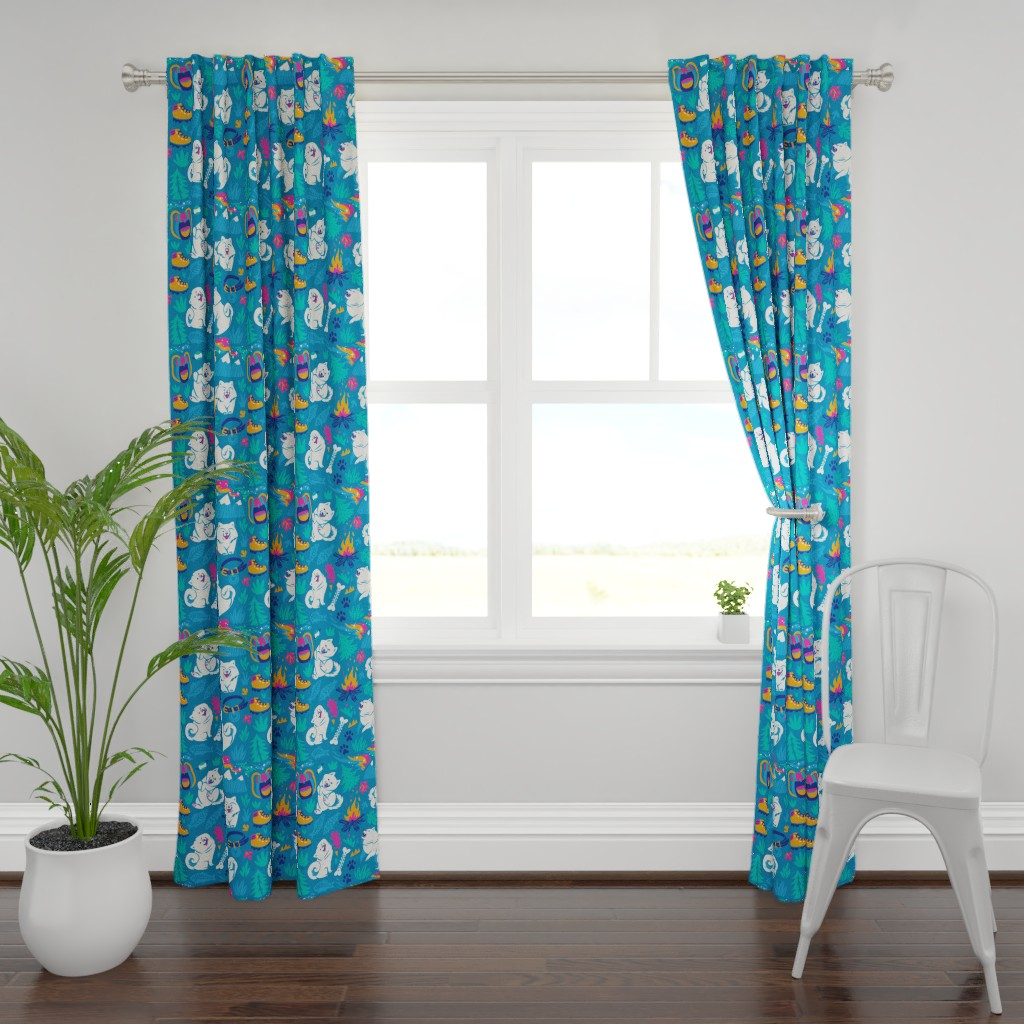 Plymouth Curtain Panel featuring hiking  with a Samoyed by penguinhouse