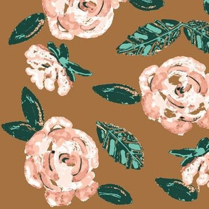 Shabby blush Rose on Bronze  / Floral