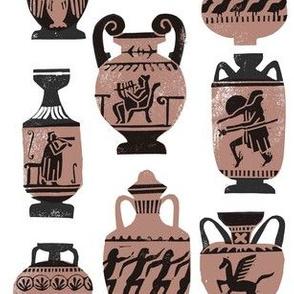 greek vase fabric - ancient greece fabric, greek pottery fabric, ancient greece fabric - dark
