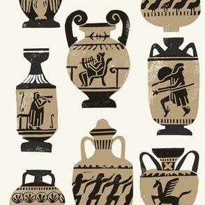 greek vase fabric - ancient greece fabric, greek pottery fabric, ancient greece fabric - light
