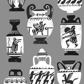 greek vase fabric - ancient greece fabric, greek pottery fabric, ancient greece fabric - grey