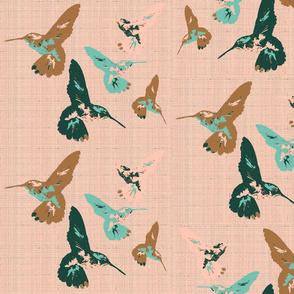 Hummingbirds on Rose Texture