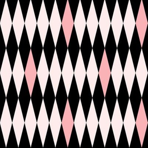 MCM Harlequin: Pink & Black Mid Century Geometric, Mod Harlequin