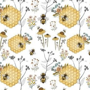 Bee on Honeycombs with Flowers