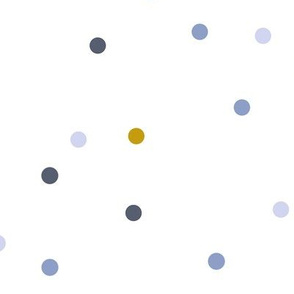 Blue and mustard dots on white