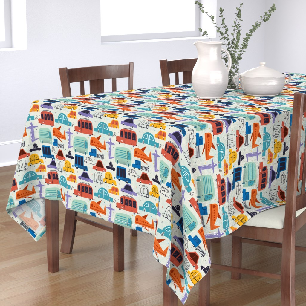 Bantam Rectangular Tablecloth featuring Let's vroom by gkumardesign