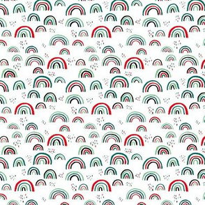 Rainbow love Scandinavian abstract rainbow clouds happy rain sky christmas red green mint XS