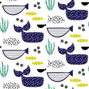 Under the sea ocean whales fish