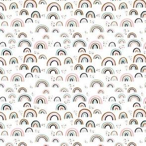 Rainbow love Scandinavian abstract rainbow clouds happy rain sky soft pink blue girls XS