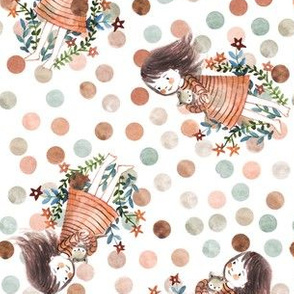 watercolor dots and little girl