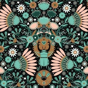 Rhinoceros beetles and abstract flowers, in a folk style. Black background