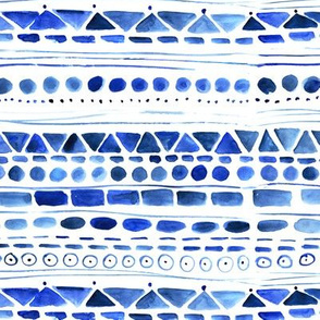 Aztec watercolor print in blue