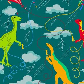Dinos Lightning Kite Experiment- Rainbow Dinosaurs- Large Scale